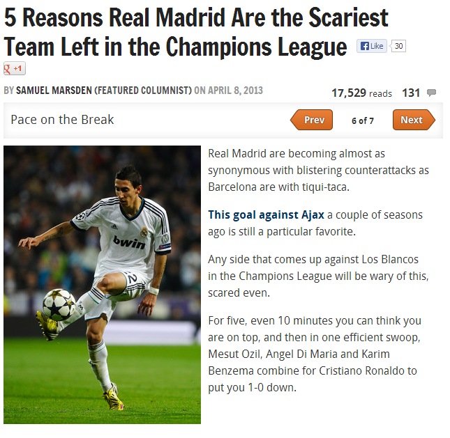 Bleacher report on real madrid